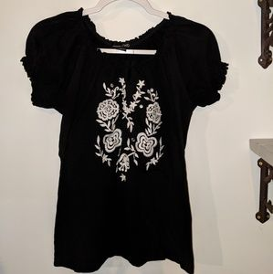 RXB black and white embroidered top size medium